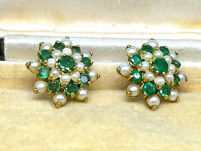 Lovely Vintage 9ct Gold Emerald & Pearl Earrings