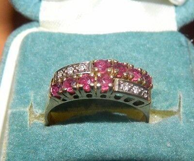 VINTAGE VERY NICE 18K GOLD RUBY AND DIAMONDS RING 17.8mm DIAMETER