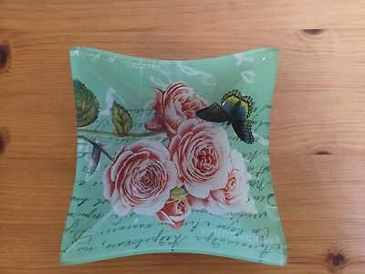Green glass roses and butterfly dish