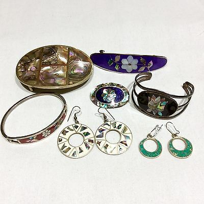 Vintage Lot Silver Alpaca Mexico Jewelry 126g Buckle Moon & Stars Floral Abalone