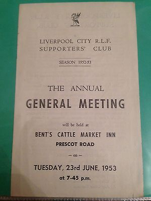 Rugby League Liverpool City rugby club supporters club AGM 1952/53 season AGM
