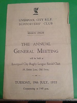 Rugby League Liverpool City rugby club supporters club AGM 1954/55 season AGM