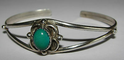 Vintage Native American Navajo Sterling & Turquoise N KING Bangle / Cuff