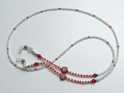Handmade Red + White Seed Millefiori Bead Glasses Spectacles Chain Cord