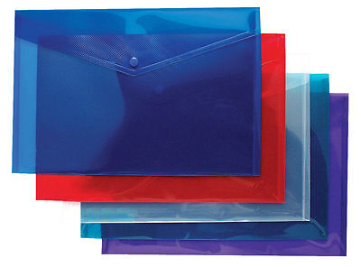 A4 Plastic Stud Document Wallets Folders Filing School Office