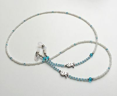 Handmade Fish + Turquoise Blue Seed Bead Glasses Spectacles Chain Cord