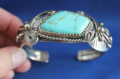 Solid Sterling Squash Blossom Cuff Bracelet Large Turquoise Stone 66+ Grams
