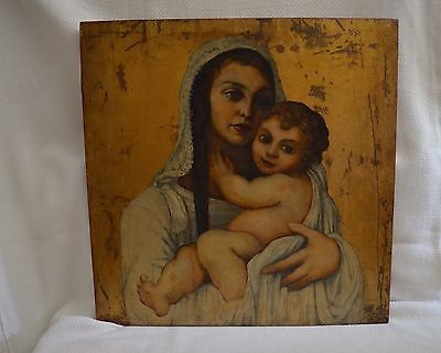 """European Oil Painting 19""""x19"""" Madonna with Child on Wooden Board, c. 1920's"""