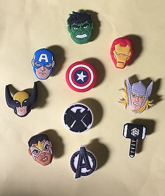 10 PC Lego HEROES MARVEL Avengers JIBBITZ SHOE CHARMS NEW- US Seller