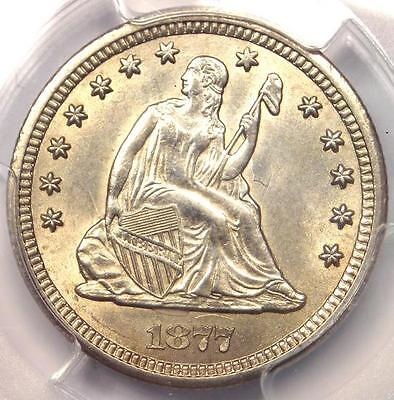 1877-CC Seated Liberty Quarter 25C Coin - PCGS Uncirculated Detail (UNC BU MS)!