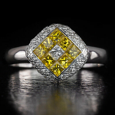 SIGNED LEVIAN DIAMOND 1ctw NATURAL YELLOW SAPPHIRE COCKTAIL RING 18K WHITE GOLD