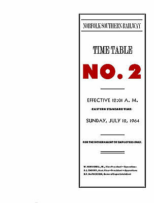ORIGINAL Norfolk Southern Railway System Employee Timetable #2 JULY121964