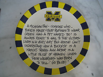 """University of Michigan 13"""" Plate """"A MICHIGAN FAN"""" T Cabells Too  TAILGATE PARTY"""