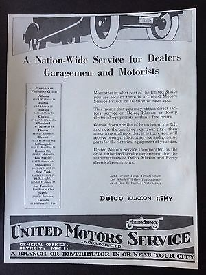 Vintage 1919 Ad (Xx39)~United Motors Service Incorp. Nation Wide Distributor