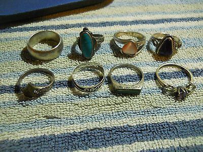 Vintage 8 Sterling Silver Ring Lot 34.0 Grams