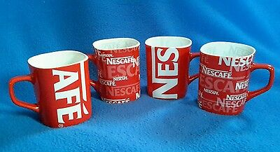 Set of 4 NESCAFE COFFEE Ceramic Red & White Square Mugs **MINT CONDITION**