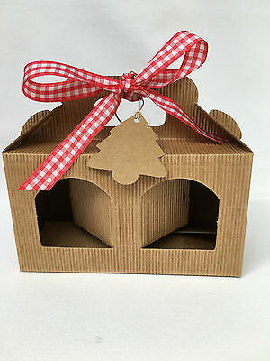 Pack of 6 x 2 Window Short Jam Jar Gift Box including Christmas tag and ribbon