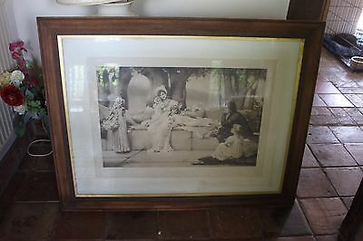 Large Antique Picture In A Frame/Framed Picture Print/antique Picture