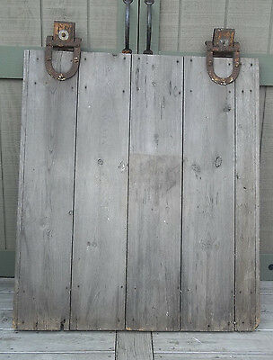 "BARN DOOR & Orig Hardware 49""H x 40""W OLD FARM Door Vintage Barn Door Rollers"