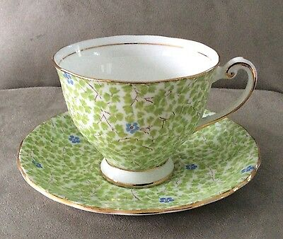 Vintage CLARENCE BONE CHINA made in England Green Chintz Cup and Saucer