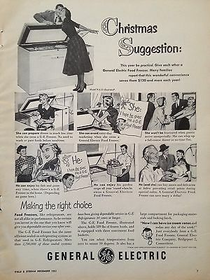 Vintage Ad 1951 (Xx44)~General Electric Freezer For Christmas
