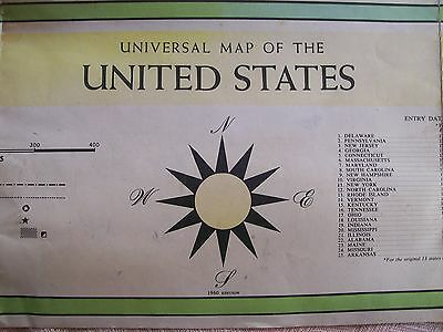 """""""universal Map Of The United States"""" - 1960 Edition - Lithographed In U.s.a."""