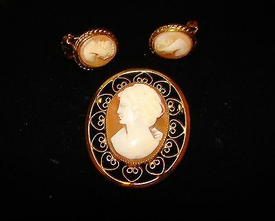 Vintage Cameo brooch & earrings Signed Catamore 1/20-12k GF pin