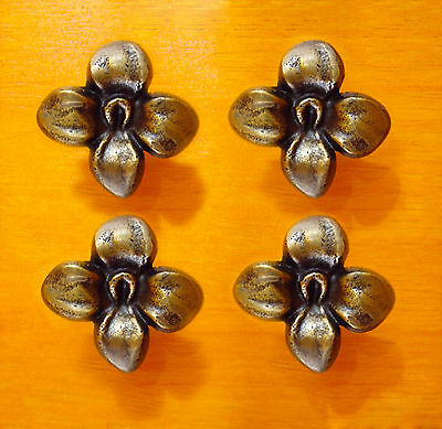 4 pcs Solid BRASS ANTIQUE SAKURA Flowers Cabinet Brass KNOB Drawer Round Pull