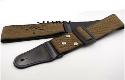 Coffee Leather ends Adjustable Guitar Strap For Electric Acoustic Guitar Bass