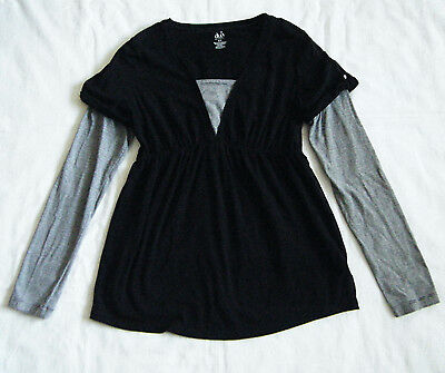 Duo Maternity Black & Gray Long-Sleeve Pullover Top Size Medium