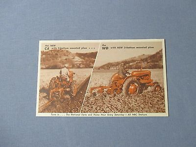 Beautiful Vintage 1950's Unposted Allis Chalmers Postcard CA and WD Tractors