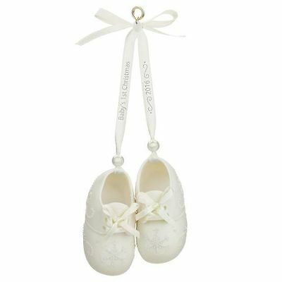 Hallmark Keepsake Baby's First Christmas 2016 Porcelain Baby Booties Ornament