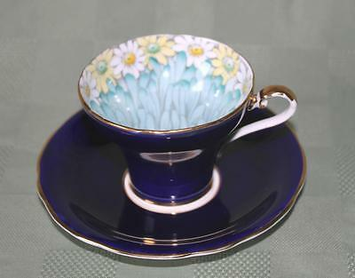 Beautiful Aynsley Cobalt Blue With Daisy's Inside Cup, Cup & Saucer