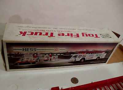 1989 Hess Toy Fire Truck Siren And Lights Works In Box Broken Axle