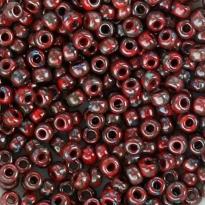 8/0 Opaque Red Picasso Miyuki Seed Bead 10g 8-4513