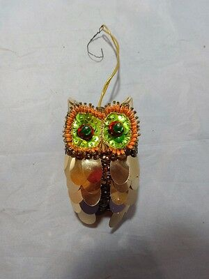Vtg 60s Walco Craft Sequin Owl Christmas Ornament Hand Crafted 4 12