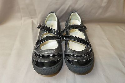 Girls Primigi Silver & Black Leather Mary Janes EU Size 34 US Size 2