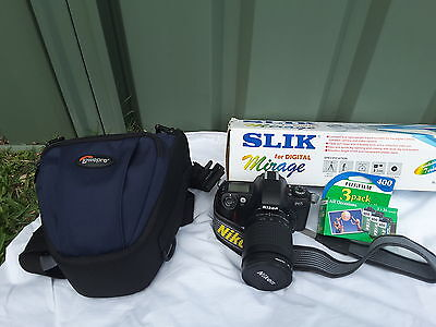 Nikon F65 with case, film and tripod and Sony Cybershot camera