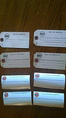 (4) Vintage Gulf Oil Shipping Labels & (4) Mailing Labels