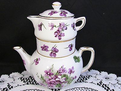 Hammersley Victorian Violets Stacking Tea Pot Creamer Sugar For One