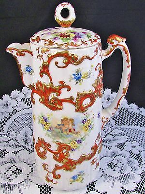 Japanese Cherubs Floral Hp Raised Gold Accented Cocoa Pot
