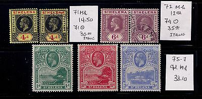 1912-13 St.helena Stamps Kgv  Sc# 71-72;75-77 Mlh/mh /used Cv $120