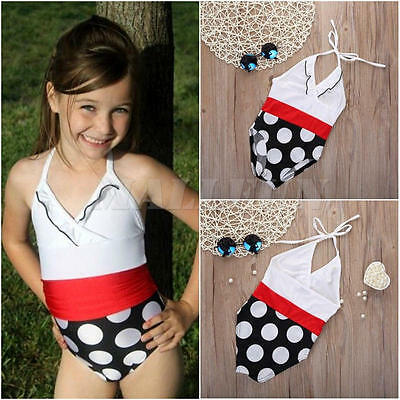 Kids Girls Swimwear Swim Suit Bathing Bikini Dot Print Beachwear Bath Suits 4-5Y