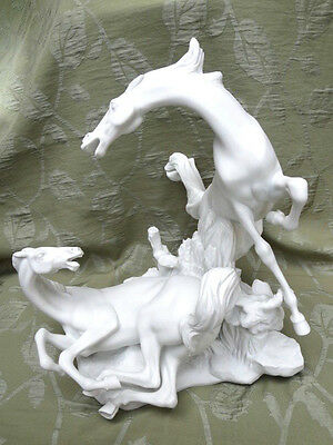 """A Lovely Vintage Lladro Sculpture of Two White Porcelain """"Playful Horses"""""""