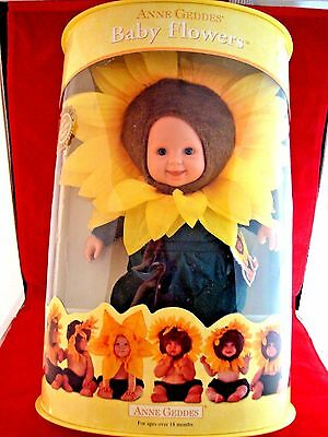Anne Geddes Baby Sunflower Doll Collectable Soft Huggable Baby New in Box NRFB