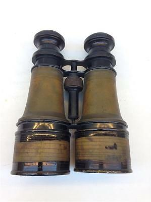 Antique Large Brass Binoculars Field Glasses