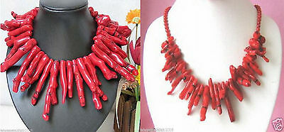 2 Style Wholesale Exquisite Natural Blood Red Coral Branch Necklace
