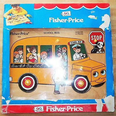 Vtg NEW 1970s FISHER-PRICE SCHOOL BUS #515 Wood Wooden Frame Tray Puzzle SEALED