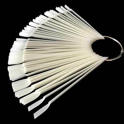 1set=50 pcs False Nail display Fan Wheel Polish Practice Tip Stick Nail Swatches