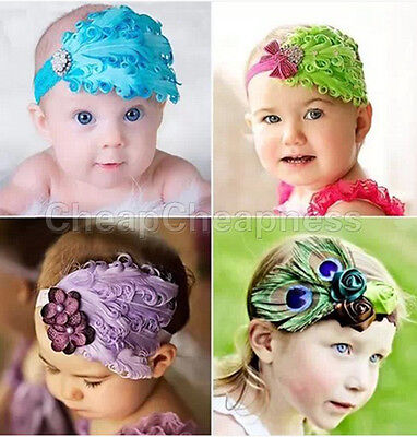 Elastic Baby Kid Girl Infant Hair Band Lace Flower Toddler Feather Headband HF